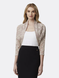 Woman Wearing Long Sleeve Lace Shrug in Champagne White | Tahari Asl