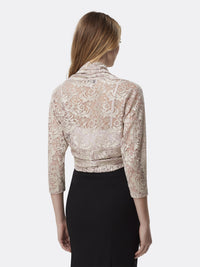 Woman Wearing Champagne White Long Sleeve Lace Shrug Shawl | Tahari Asl
