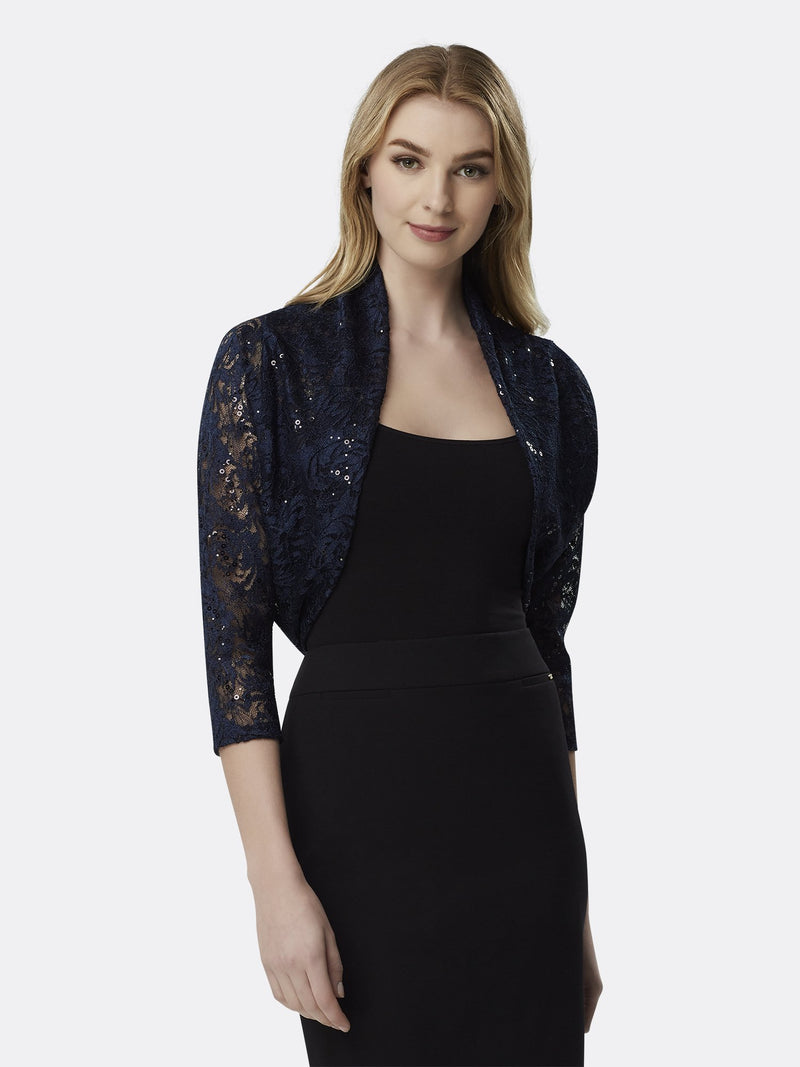 Woman Wearing Long Sleeve Lace Shrug in Navy | Tahari Asl