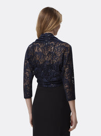 Woman Wearing Navy Long Sleeve Lace Shrug Shawl | Tahari Asl