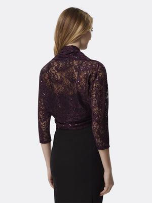 Woman Wearing Dark Purple Long Sleeve Lace Shrug | Tahari Asl