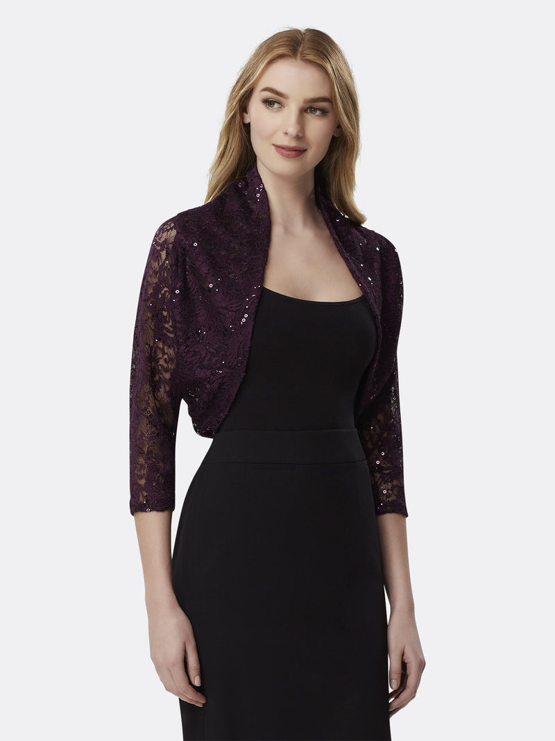 Woman Wearing Dark Purple Lace Long Sleeve Shrug | Tahari Asl