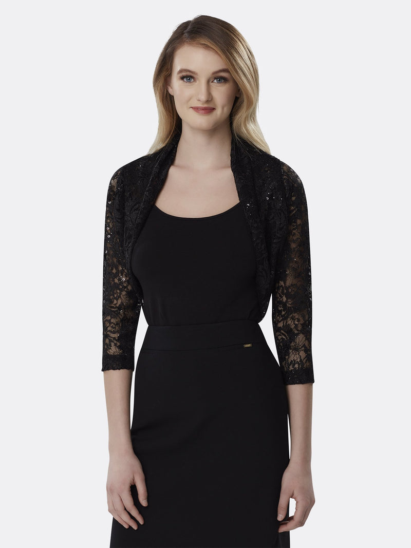 Woman Wearing Long Sleeve Lace Shrug in Black | Tahari Asl
