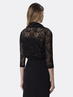 Woman Wearing Black Long Sleeve Lace Shrug Shawl | Tahari Asl