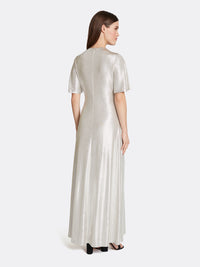 Foil Knit Twist-Front Gown