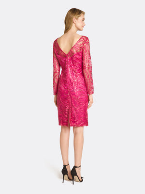 Illusion Sequin Embroidered Dress