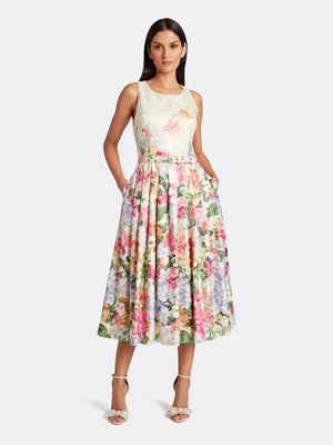 Floral Metallic Jacquard Midi Dress