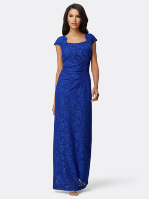 Side Ruched Lace Gown