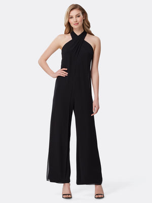 Front View of Women's Designer Black Jumpsuit with Criss Cross Neck by Tahari ASL