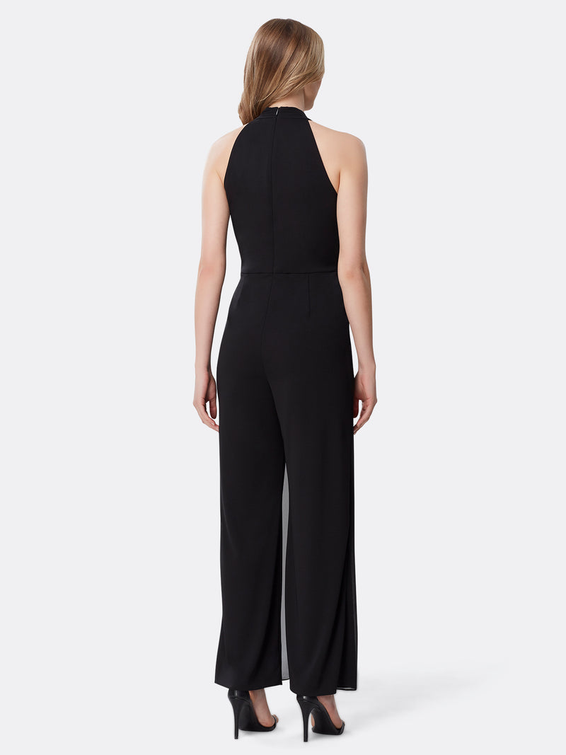 Back View of Women's Designer Black Jumpsuit with Criss Cross Neck by Tahari ASL