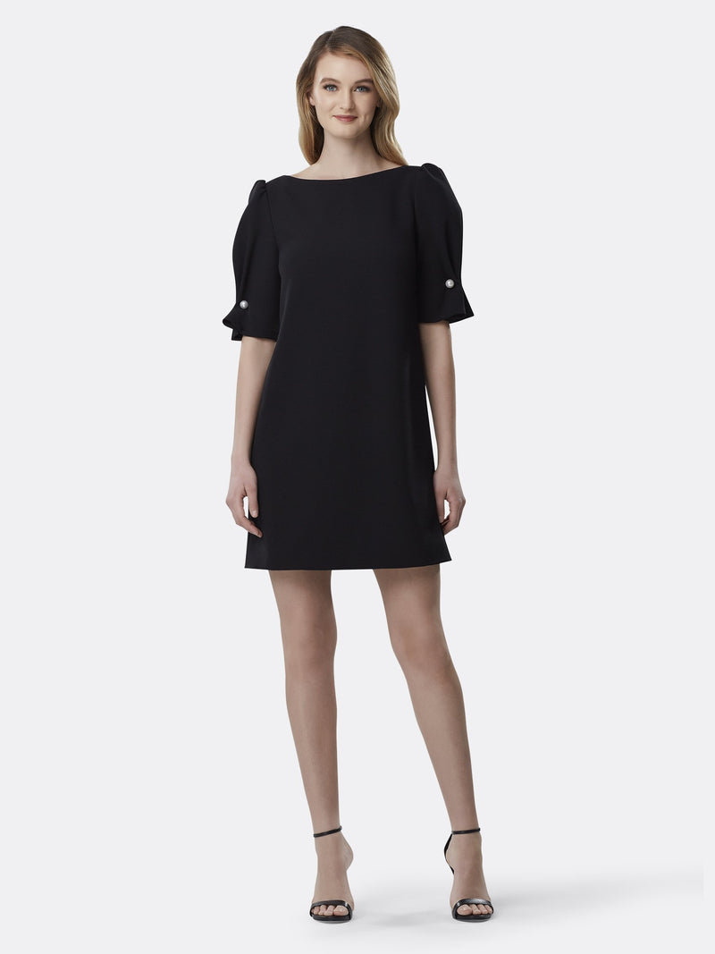 Scrunch Sleeve Pearl Shift Dress