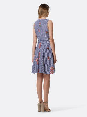 Back View of Women's Designer Double Tie Waist  Dress by Tahari ASL Floral Stripe Navy
