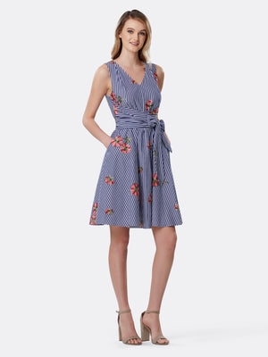 Front View of Women's Designer Double Tie Waist  Dress by Tahari ASL