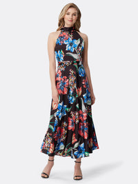 Front View of Women's Designer Floral Halter Dress by Tahari ASL Painted Blooms Black