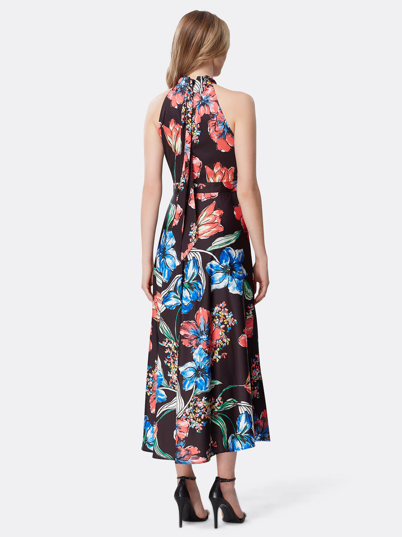 Back View of Women's Designer Floral Halter Dress by Tahari ASL Painted Blooms Black