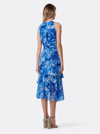 Back View of Women's Designer Dress with Asymmetrical Layer by Tahari ASL