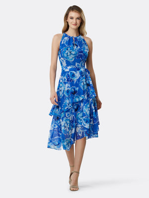 Front View of Women's Designer Dress with Asymmetrical Layer by Tahari ASL