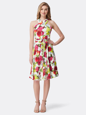 Front View of Women's Designer Skirt Dress with Criss Cross Neck  by Tahari ASL Watercolor Floral