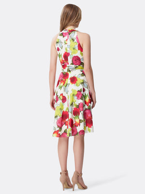 Back View of Women's Designer Skirt Dress with Criss Cross Neck  by Tahari ASL Watercolor Floral