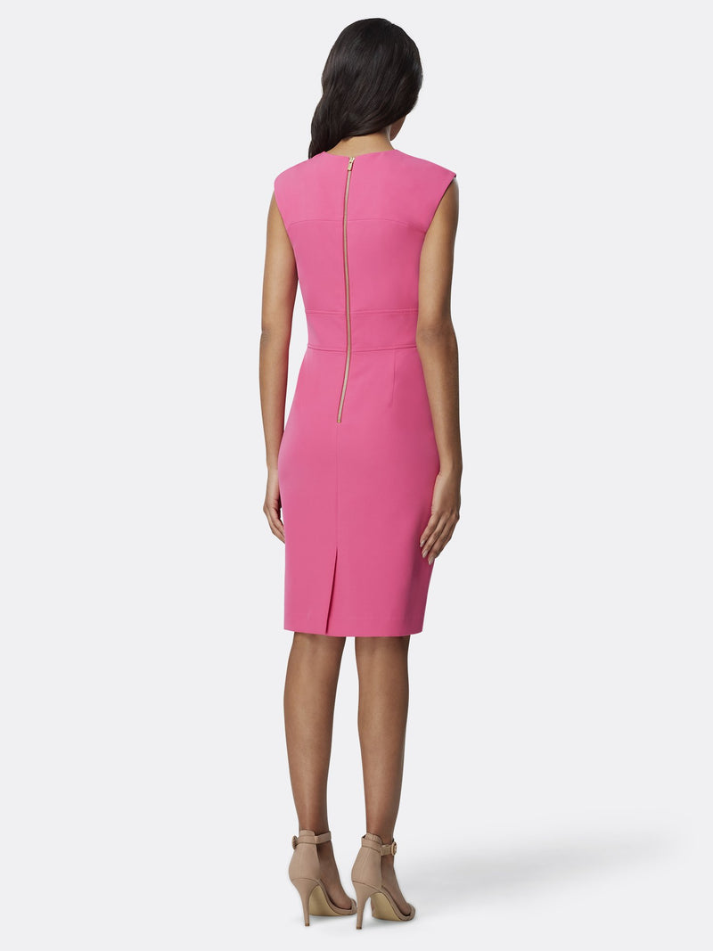 Back View of Women's Designer Star Neck Career Sheath Dress by Tahari ASL
