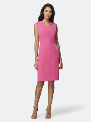 Front View of Women's Designer Star Neck Career Sheath Dress by Tahari ASL