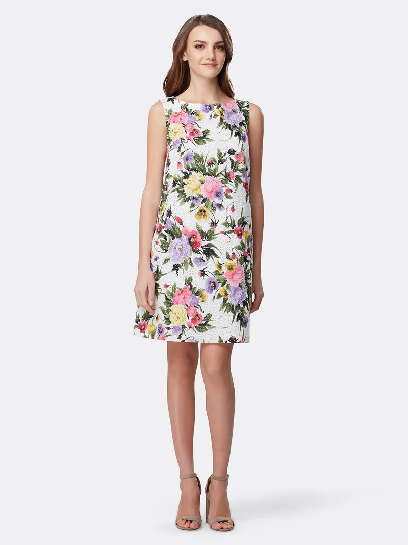 Floral Print Sleeveless Shift Dress