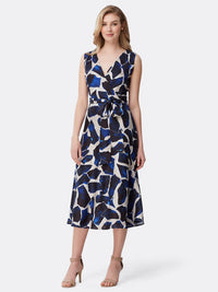 Surplice Wrap Tea-Length Dress