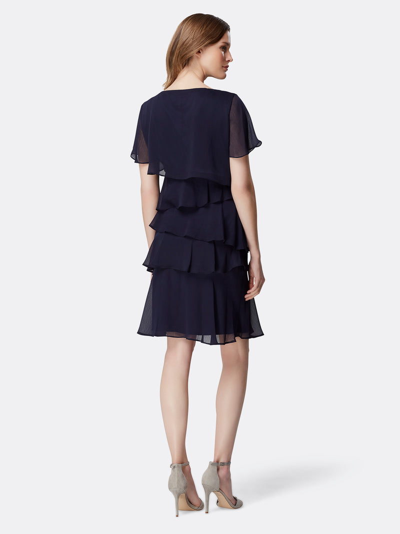 Tiered Flutter-Sleeve Dress