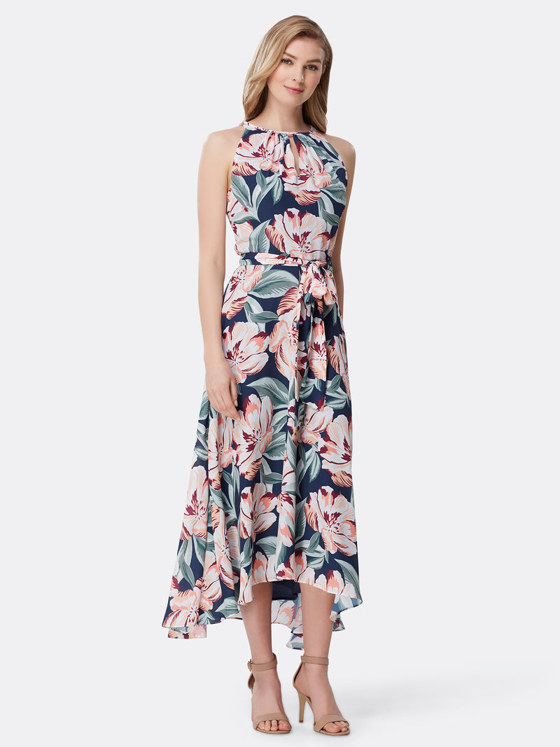 Floral Double Georgette Hi-Lo Dress