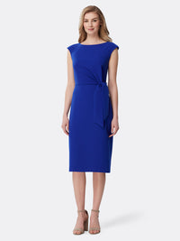 Side Tie Crepe Sheath Dress