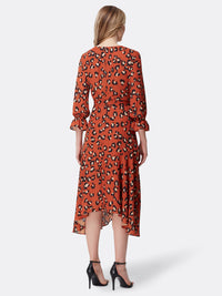 Leopard Print Handkerchief Hem Dress