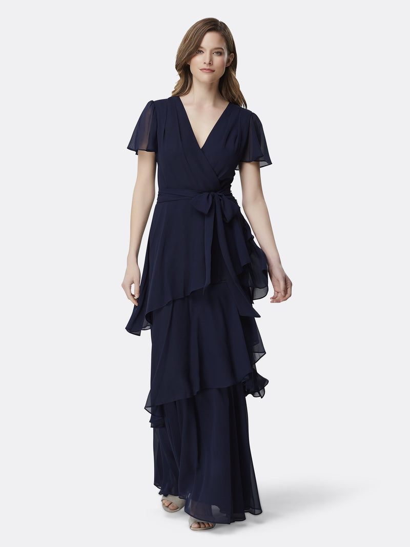 Front View of the Navy Flutter Sleeve Tiered Luxury Gown Navy