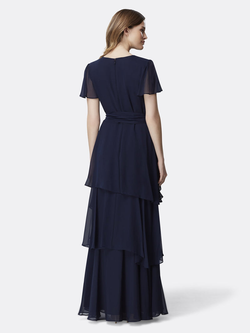 Back View of the Navy Flutter Sleeve Tiered Luxury Gown Navy