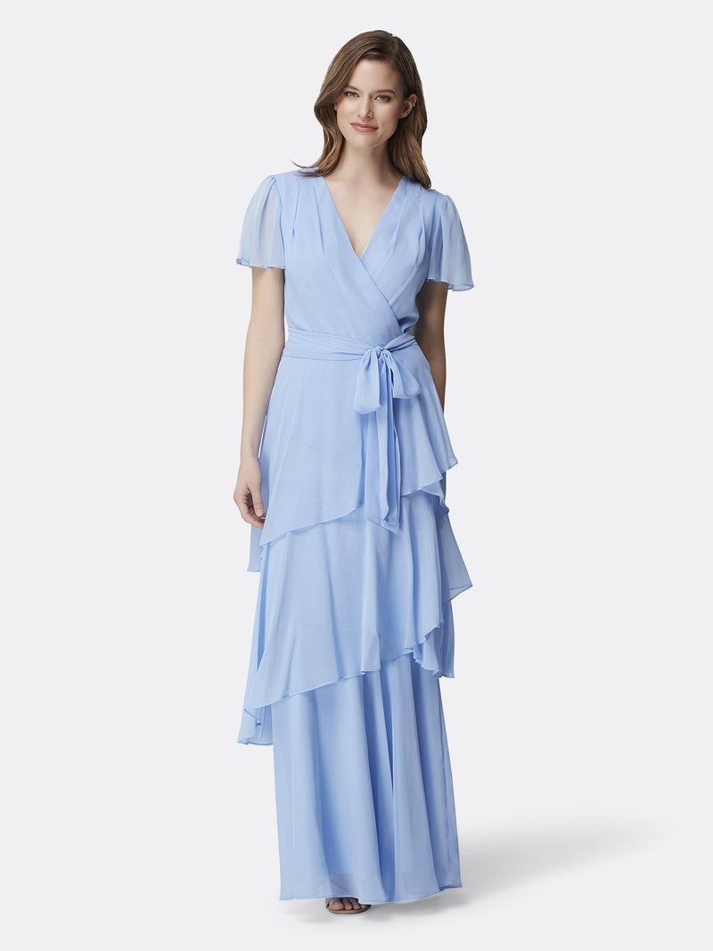 Woman Wearing the Periwinkle Flutter Sleeve Tiered Luxury Gown Periwinkle
