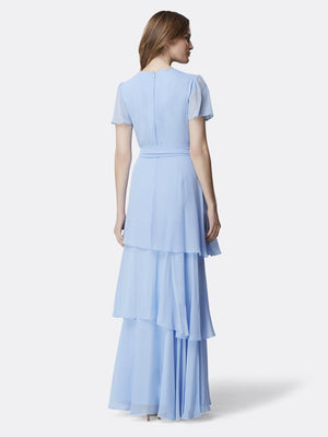 Back View of the Periwinkle Flutter Sleeve Tiered Luxury Gown Periwinkle