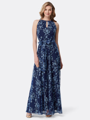 Floral Embroidered Keyhole Neck Gown
