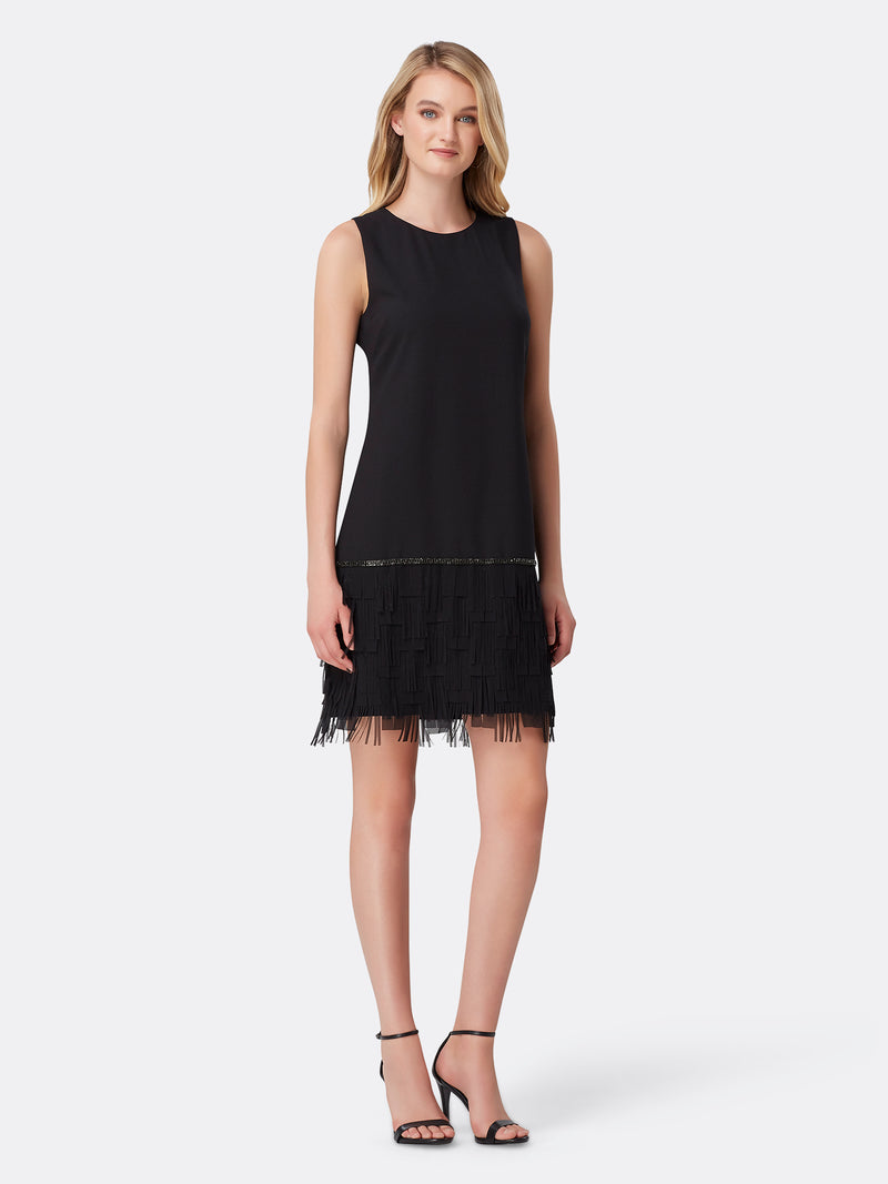 Front View of Women's Black Designer Cocktail Dress with Fringe by Tahari ASL Black