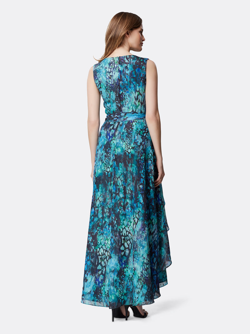 Printed Burnout Ruffled Gown