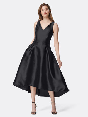 Woman Wearing Black Tea Length Cocktail Dress | Tahari Asl Black