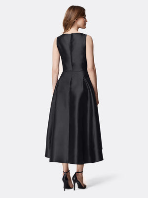 Woman Wearing Hi-low Tea Length Black Cocktail Dress | Tahari Asl Black