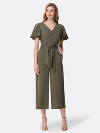 Front View of Women's Tie Front Desginer Jumpsuit by Tahari ASL Olive