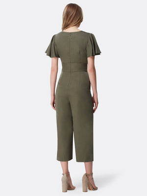 Back View of Women's Tie Front Desginer Jumpsuit by Tahari ASL Olive