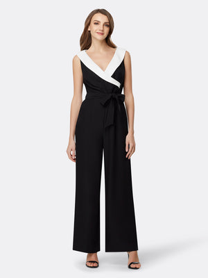 Front View of Women's Luxury Woven Jumpsuit Romper by Tahari ASL