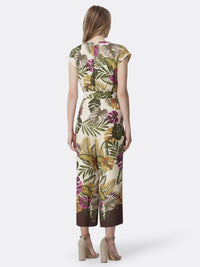 Back View of Women's Designer Cropped Jumpsuit by Tahari ASL Vintage Palm Green