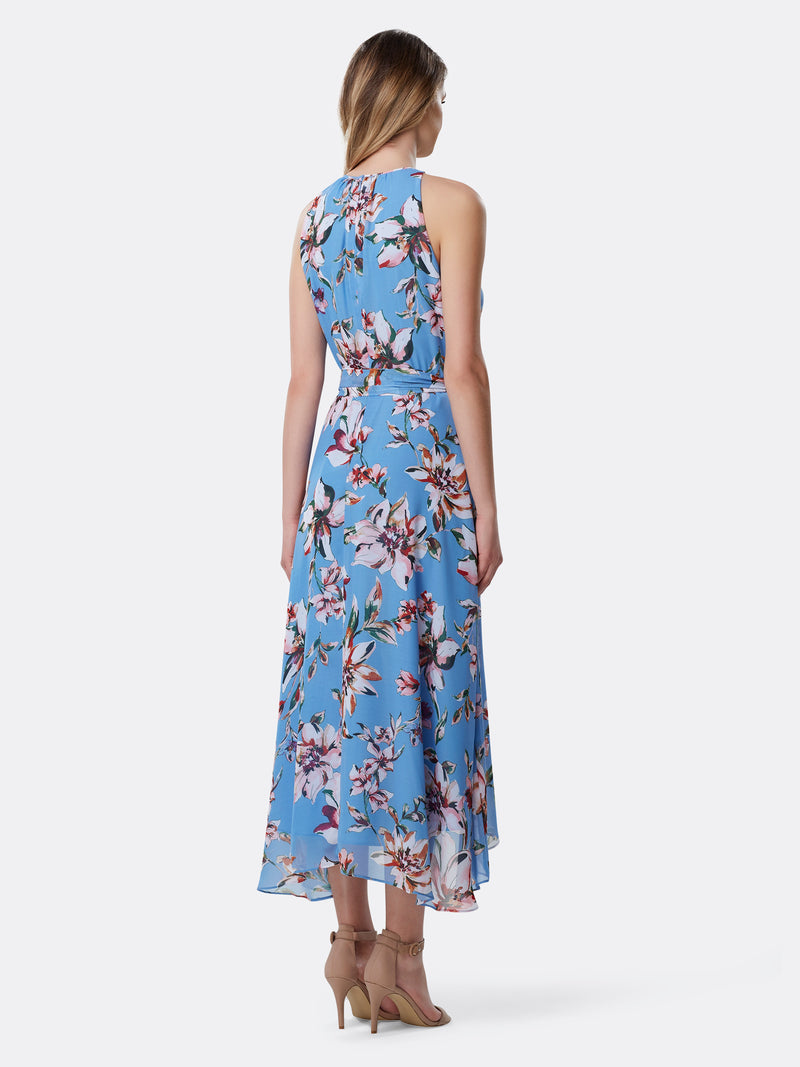 Back View of Women's Luxury Sleeveless Hi Lo Dress with Keyhole by Tahari ASL Clematis Blue