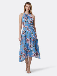 Front View of Women's Luxury Sleeveless Hi Lo Dress with Keyhole by Tahari ASL Clematis Blue