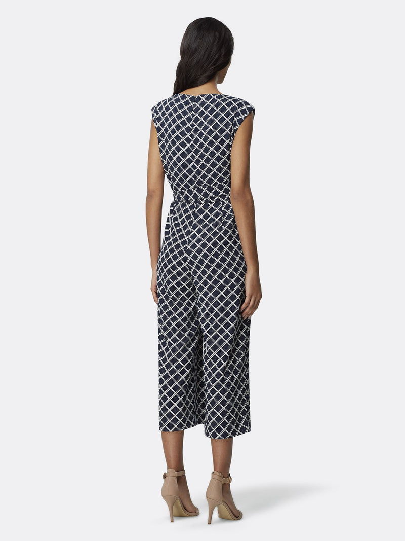 Back View of Women's Designer Sleeveless Jumpsuit with Front Tie by Tahari ASL Backet Weave Navy
