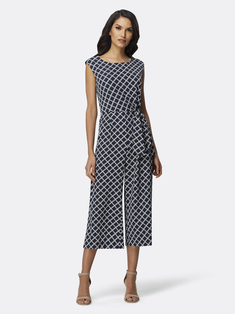 Front View of Women's Designer Sleeveless Jumpsuit with Front Tie by Tahari ASL Backet Weave Navy