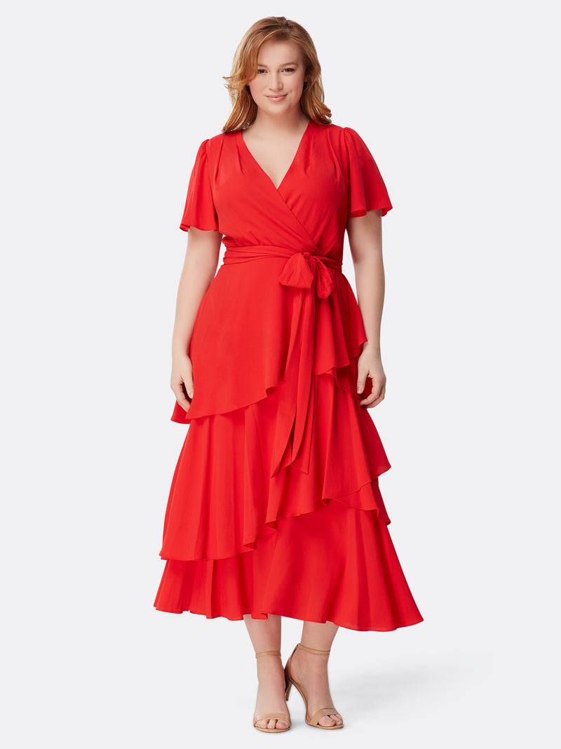 Tiered Crepe Wrap Dress