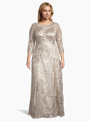 3/4 Sleeve Sequin A-Line Gown